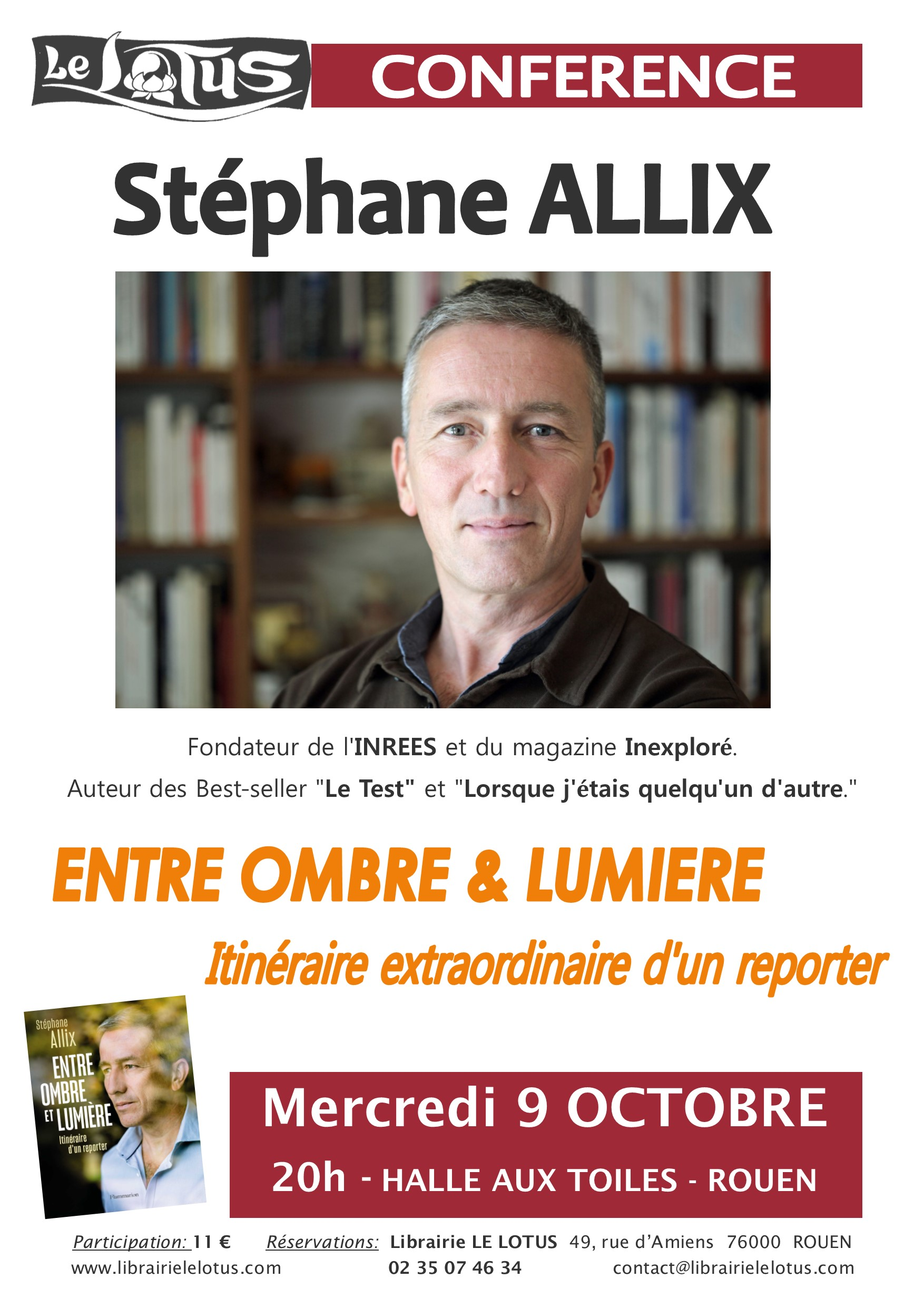 CONFERENCE - STEPHANE ALLIX - ENTRE OMBRE ET LUMIERE